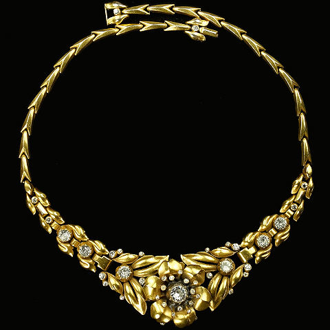 Trifari 'Alfred Philippe' Gold Rose Flower Trembler Necklace
