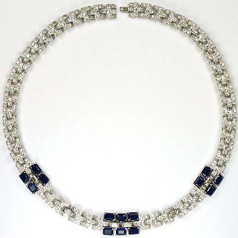 KTF Trifari 'Alfred Philippe' Pave and Sapphire Baguettes Choker Necklace