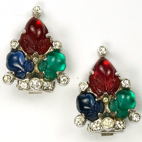 KTF Trifari 'Alfred Philippe' Tricolour Fruit Salad Clip Earrings