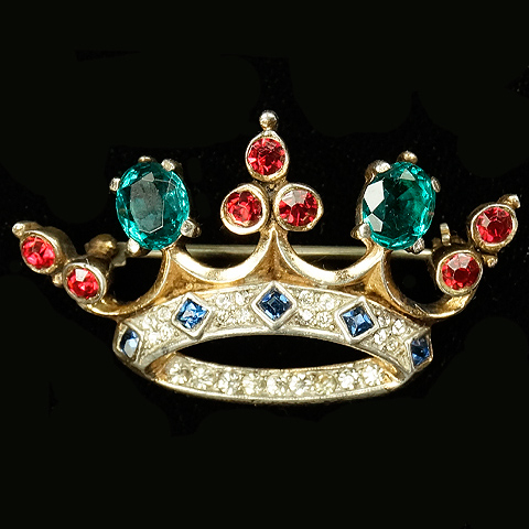 Trifari Sterling 'Alfred Philippe' Gold Emerald Square Cut Sapphires and Ruby Trefoil Crown Pin