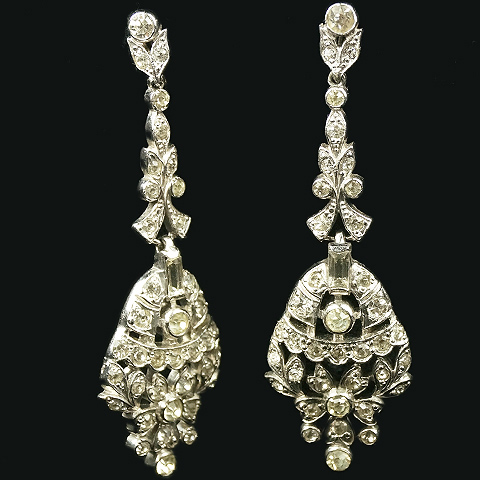 KTF Trifari 'Alfred Philippe' Pave Three Element Pendant Screwback Earrings