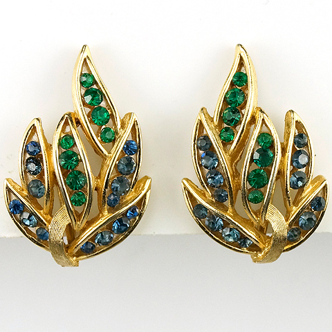 Trifari 'Alfred Philippe' 'Firebird' Series Gold Emeralds and Sapphires Clip Earrings