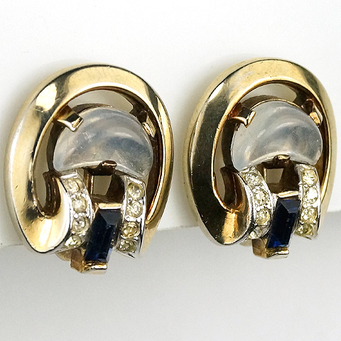 Trifari 'Alfred Philippe' Gold Moonstone and Sapphire Baguettes 'Clair de Lune' Clip Earrings
