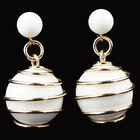 Trifari 'Alfred Philippe' 'Parisphere' Gold Springs and Faux Ivory Spheres Pendant Clip Earrings