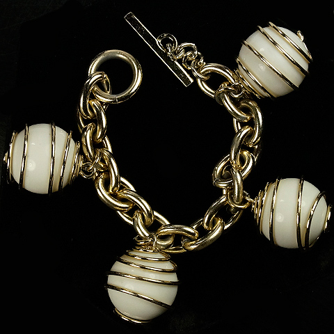 Trifari 'Alfred Philippe' 'Parisphere' Gold Springs and Faux Ivory Spheres Bracelet