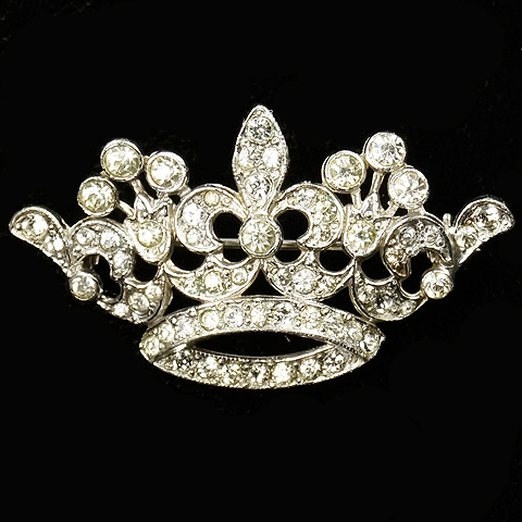 KTF Trifari 'Alfred Philippe' Pave Fleur de Lys Regal Crown Pin