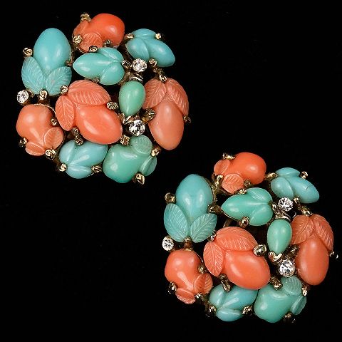 Trifari 'Alfred Philippe' Pastel Coral Jade and Turquoise Fruit Salads Larger Button Clip Earrings