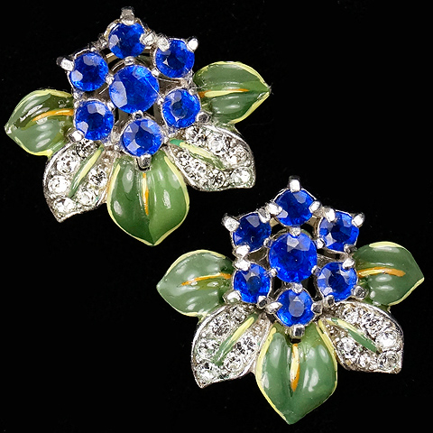 Trifari 'Alfred Philippe' Hexagonal Sapphire Flower and Pave and Green Enamel Leaves Clip Earrings