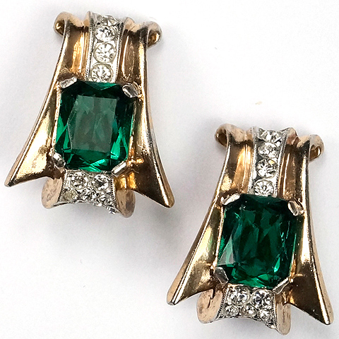 Trifari Sterling 'Alfred Philippe' Gold Pave and Emerald Deco Swirl Clip Earrings