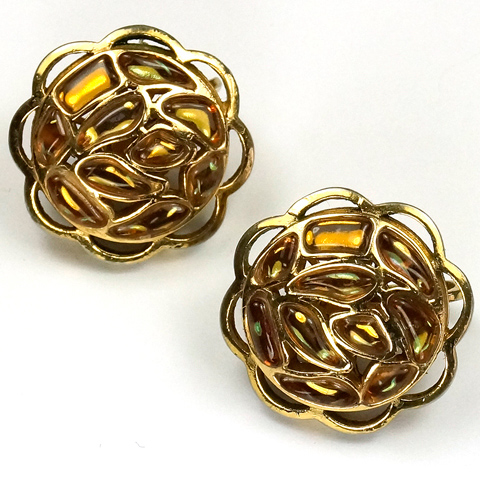 Trifari 'Modern Mosaics' Gold Citrine and Topaz Poured Glass Button Clip Earrings