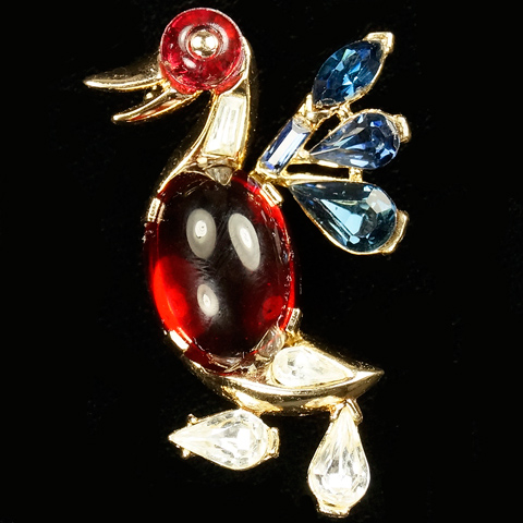 Trifari 'Alfred Philippe' Ruby Cabochon and Sapphire Wings Duck Pin
