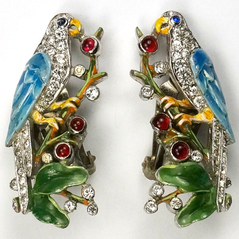 Trifari 'Alfred Philippe' Pave and Enamel Parrots on Branches Clip Earrings