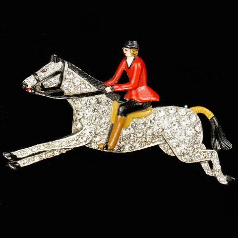 Trifari 'Alfred Philippe' Red Coated Foxhunter Riding a Horse Pin