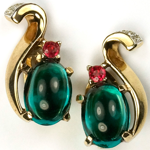 Trifari 'Alfred Philippe' Gold and Pave Swirl Emerald Cabochon Royal Crown Clip Earrings