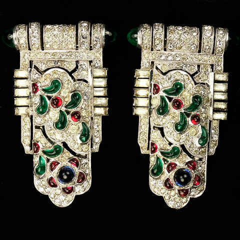 KTF Trifari 'Alfred Philippe' 1930s Jewels of India Pair of Pave and Tricolour Fruitdrop Cabochons Dress Clips