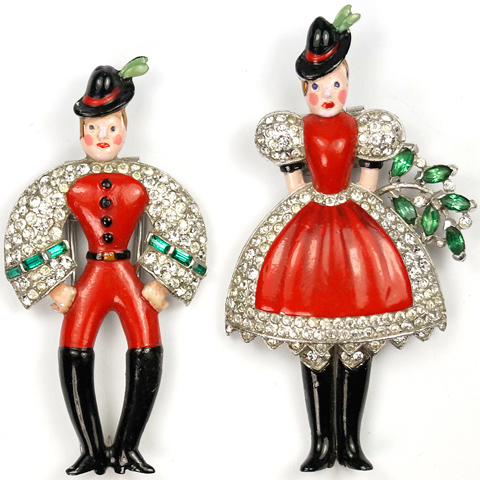 Trifari 'Alfred Philippe' 'Peter' and 'Helen' in Red Swiss Costumes Pair of Pin Clips
