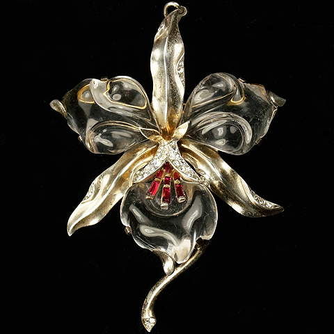 Trifari Sterling 'Alfred Philippe' Jelly Belly Orchid Pin (or Pendant)