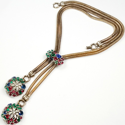 Trifari Sterling 'Alfred Philippe' 'Riviera' Series Gold Snake Chains Double Pendant Tricolour Floral Globes Necklace