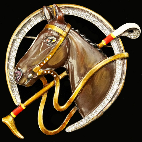 Trifari 'Alfred Spaney' Pave and Enamel Brown Horse and Riding Crop in a Horseshoe Pin
