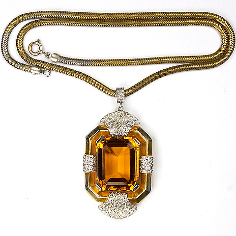 Trifari 'Alfred Philippe' Gold Pave and Citrine 'Doorknocker' Pendant Necklace