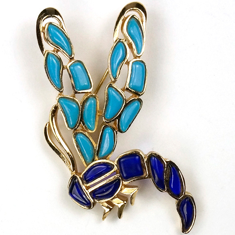 Trifari Modern Mosaics Turquoise and Lapis Dragonfly Pin