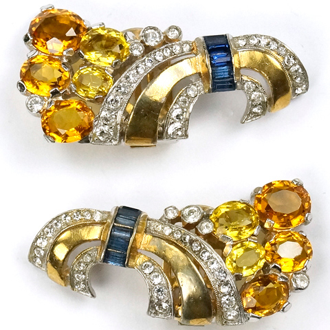 Trifari 'Alfred Philippe' Gold Pave Citrine Topaz and Sapphire Baguettes Deco Swirl Clip Earrings