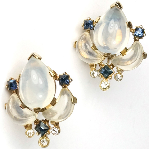 Trifari 'Alfred Philippe' 'Clair de Lune' Moonstone Demilune and Sapphire Clip Earrings