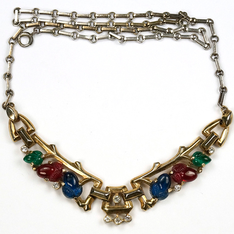 Trifari 'Alfred Philippe' Gold and Tricolour Fruit Salads Choker Necklace