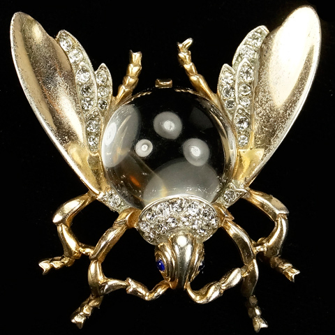 Trifari Sterling 'Alfred Philippe' Ruby Large Jelly Belly Bug (or 'Fly') Pin