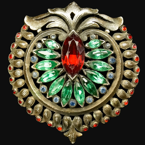 KTF Trifari 'Alfred Philippe' 1930s Jewels of India Ruby and Emerald Shield Crest Dress Clip
