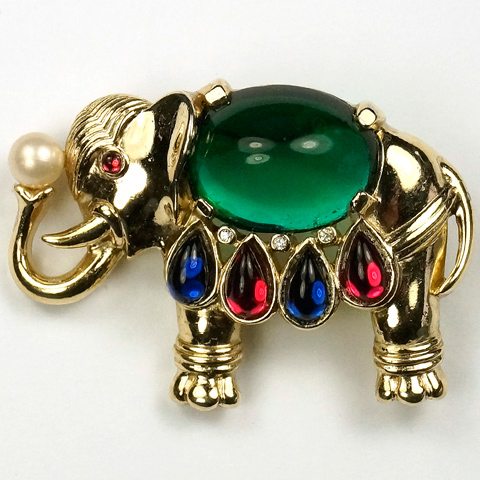Trifari 'Alfred Philippe' Emerald and Sapphire 1960s Production Moghul Elephant Holding a Pearl Pin