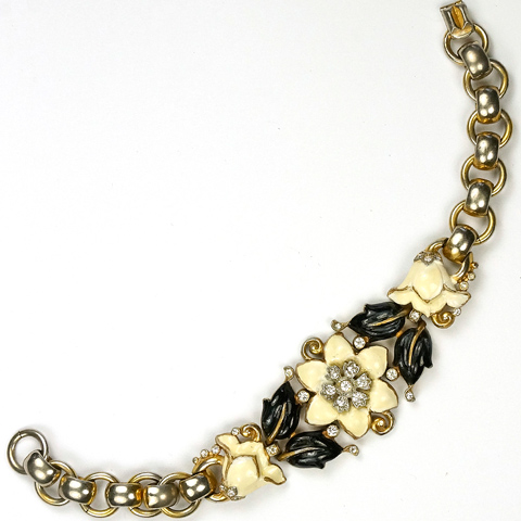 Trifari 'Alfred Philippe' Black and White Enamel Carnation and Lily Bracelet