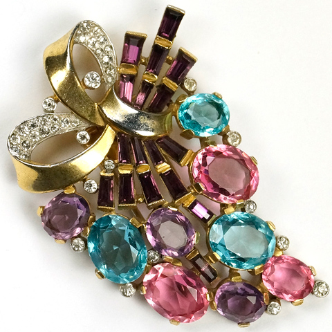 Trifari 'Alfred Philippe' Aquamarine, Amethyst and Pink Topaz Golden Floral Bow Pin Clip