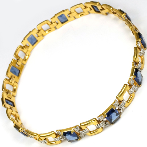 Trifari (unsigned) Gold Squares with Pave and Sapphire Links Necklace