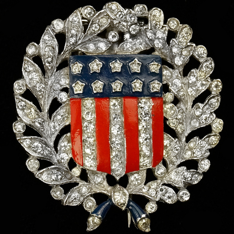 Trifari 'Alfred Philippe' WW2 US Patriotic Laurel and Oak Leaves with Stars and Stripes Pin Clip
