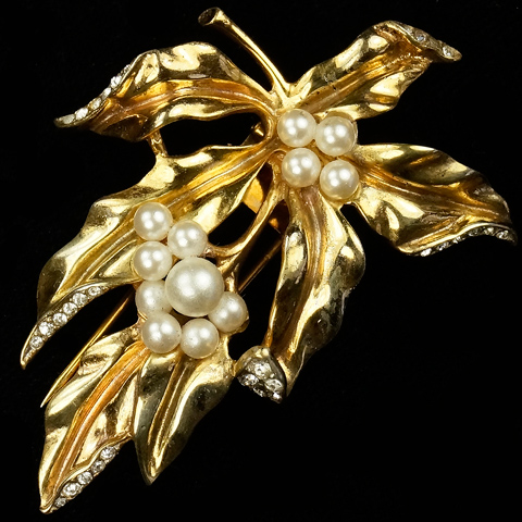 Trifari Sterling 'Alfred Philippe' Pearl Berries and Golden Ivy Leaves Pin Clip