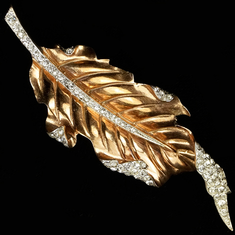 Trifari Sterling 'Alfred Philippe' Pave and Gold Long Curling Leaf Pin Clip