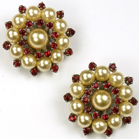 Trifari Sterling 'Alfred Philippe' Pearls and Rubies Starburst Button Clip Earrings