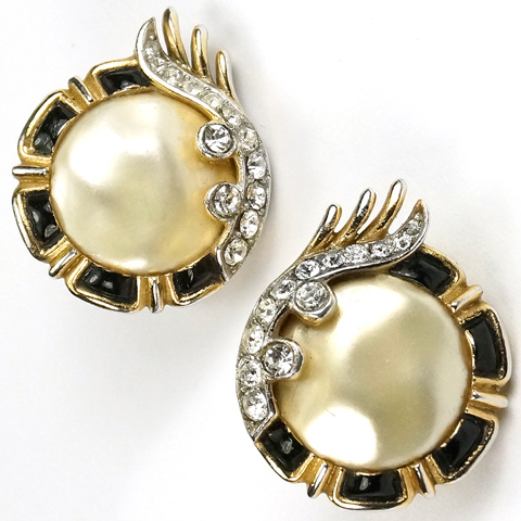 Trifari 'Alfred Philippe' 1960s Ming Series Black Enamel and Mother of Pearl Button Clip Earrings