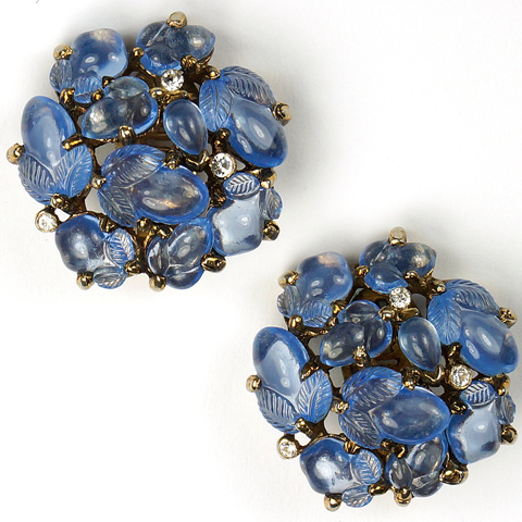Trifari 'Alfred Philippe' Gold and Sapphire Fruit Salads Button Clip Earrings