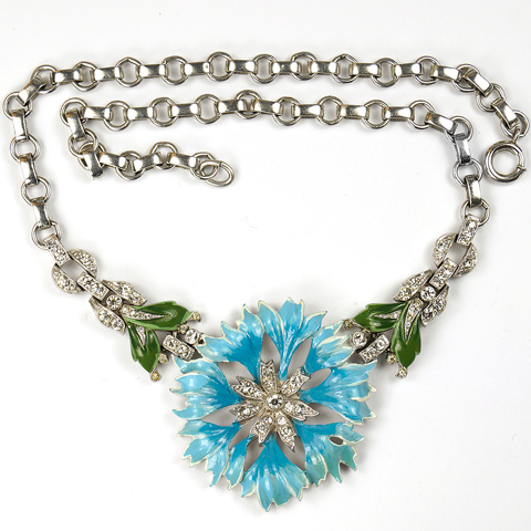 Trifari 'Alfred Philippe' Pave and Enamel Light Blue Carnation Necklace
