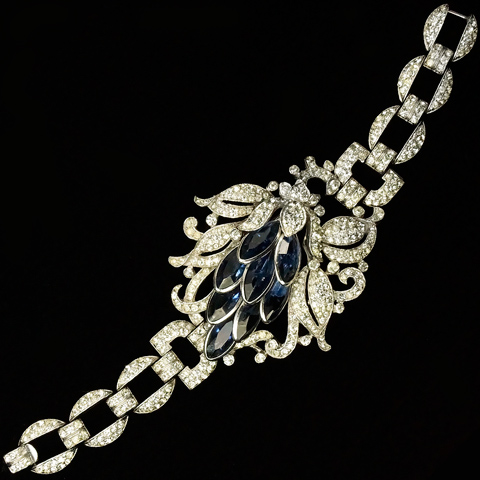 Trifari 'Alfred Philippe' Pave and Sapphires Lotus Flower Bracelet