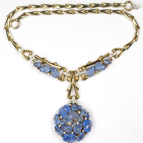 Trifari 'Alfred Philippe' Gold and Sapphire Moonstone Fruit Salads Pendant Sphere Necklace