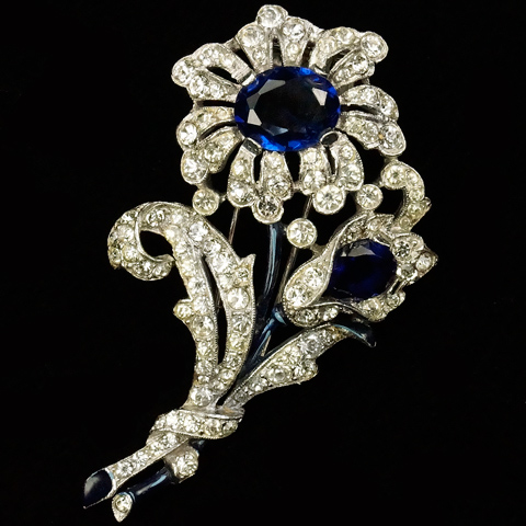 Trifari 'Alfred Philippe' Pave Enamel and Sapphires Two Flower Floral Spray Pin Clip