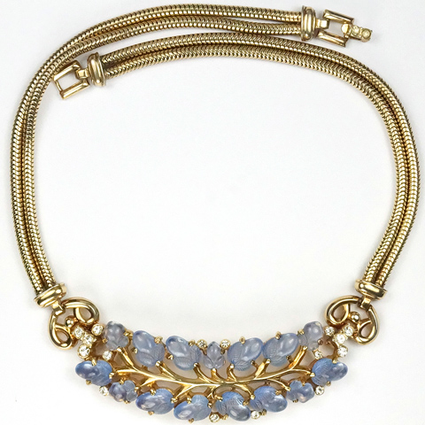 Trifari 'Alfred Philippe' Gold Branch and Sapphire Fruit Salads Choker Necklace