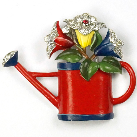 Trifari 'Joseph Wuyts' Enamel Floral Watering Can with Flowers Pin Clip