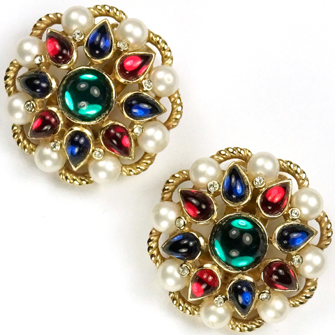 Trifari 'Alfred Philippe' Jewels of India Pearls and Cabochons Clip Earrings