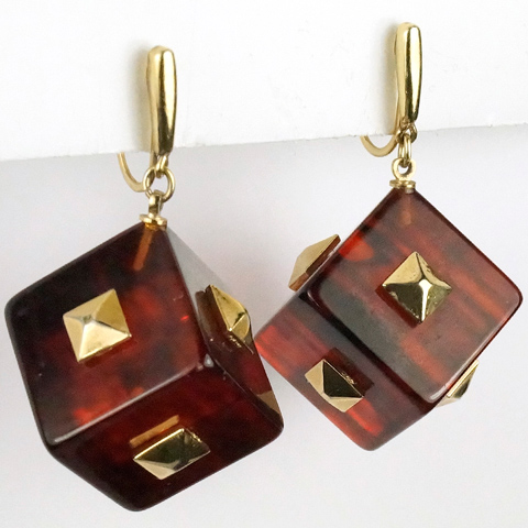 Trifari 'Alfred Philippe' Bakelite Square Studded Cubes Dice Pendant Clip Earrings