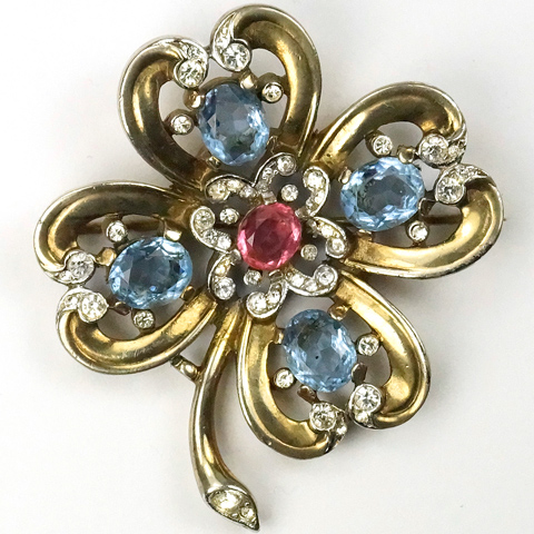 Trifari 'Alfred Philippe' Gold Aquamarines and Pink Topaz Four Leaf Clover Hearts Pin