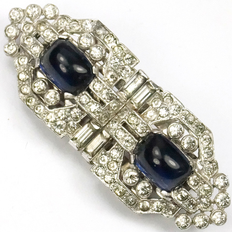 KTF Trifari 'Alfred Philippe' Pave Shields and Sapphire Cabochons Clipmate Pin
